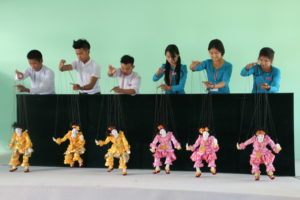 Students of Traditional Burmese Puppetry, National University of Arts and Culture, Penelope's visit