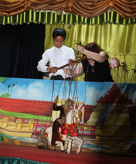 marionette horse at the Mandalay Marionette Theater with Sai Thein Kyaw.